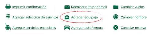 captura de pantalla del enlace agregar equipaje en la confirmación de reserva
